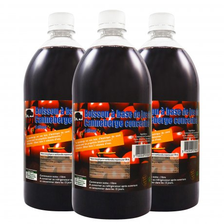 Lot de 3 boisson à base de jus concentré canneberge / cranberry - 1 L