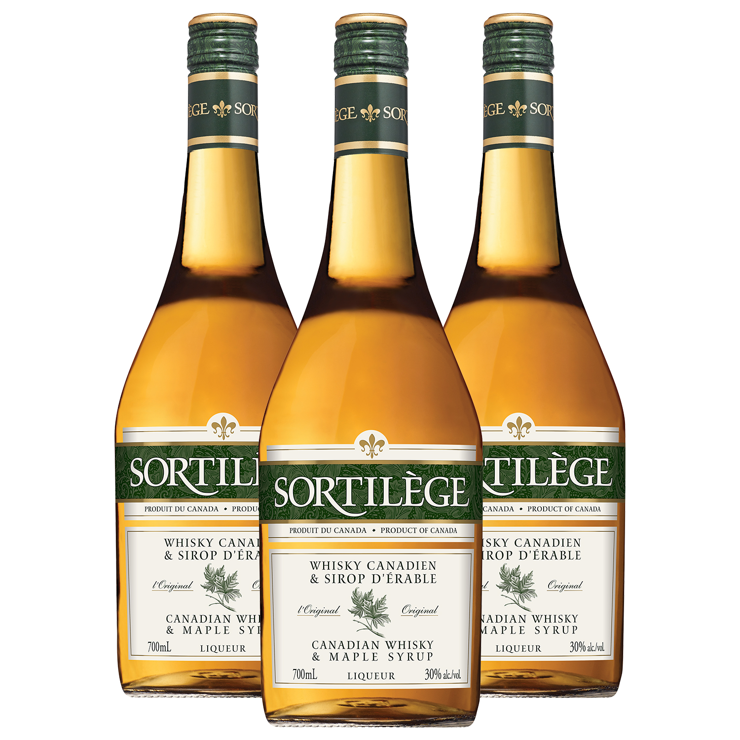 Lot de 3 whisky canadien sirop d'érable Sortilège